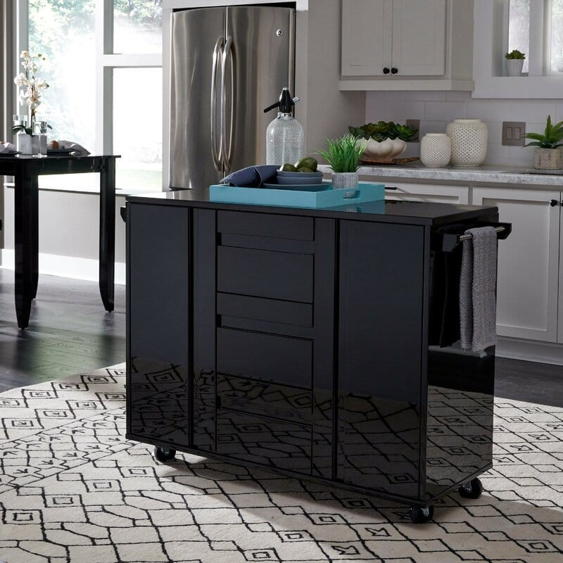 Emblyn Kitchen Island Cart with Granite Top