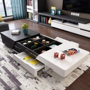Modern Chic 51 Extendable Coffee Table with Storage Sliding Top
