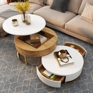 Modern Round Coffee Table with Storage Lift-Top
