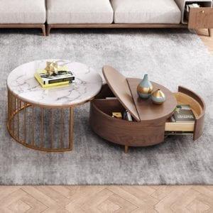Modern White & Walnut Round Nesting Coffee Table Set