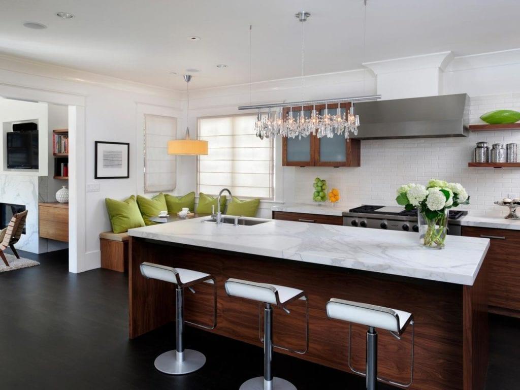 Modern kitchen with large kitchen island via HGTV