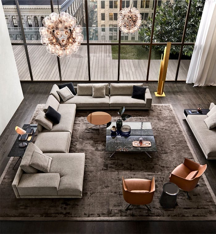 Modern living room with square coffee table
