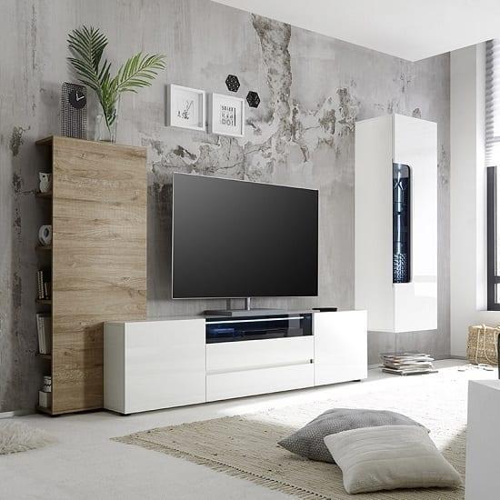 TV on White stand in modern living room via furnitureinfashion