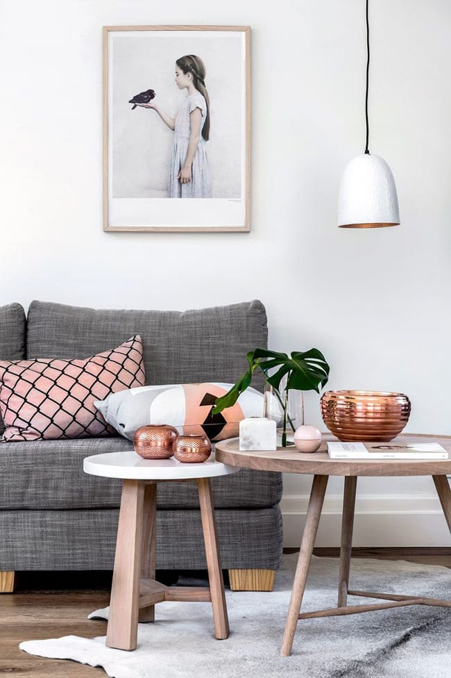 Wood and white nested coffee tables