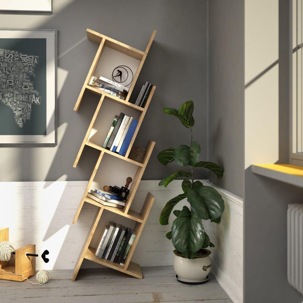 Brown Geometric Bookcase