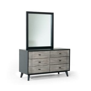 Cedartown Contemporary 6 Drawer Double Dresser with Mirror