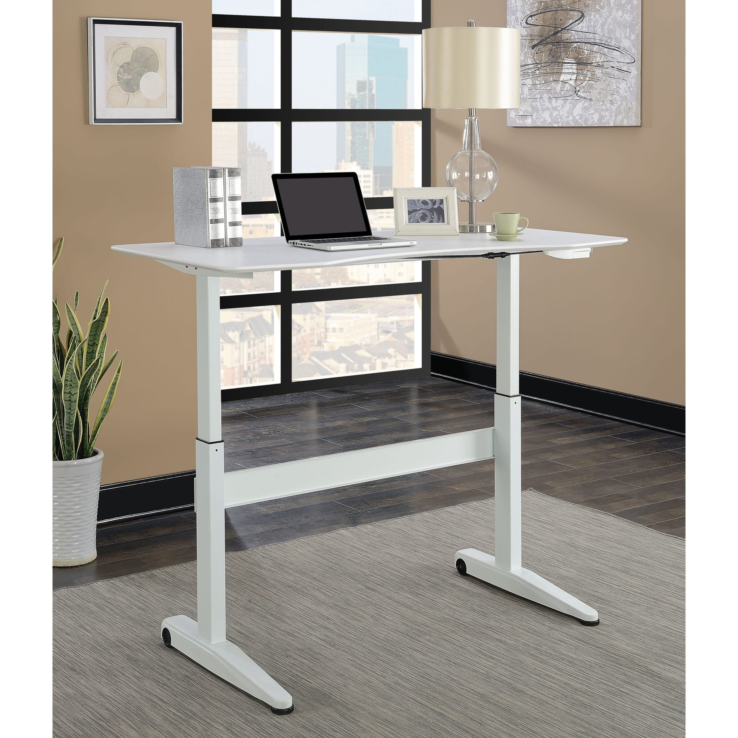 Furniture of America Glidene Modern 59 inch Height Adjustable Computer Desk scaled