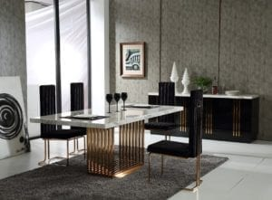 Kitchen Table Black Bronze Marble