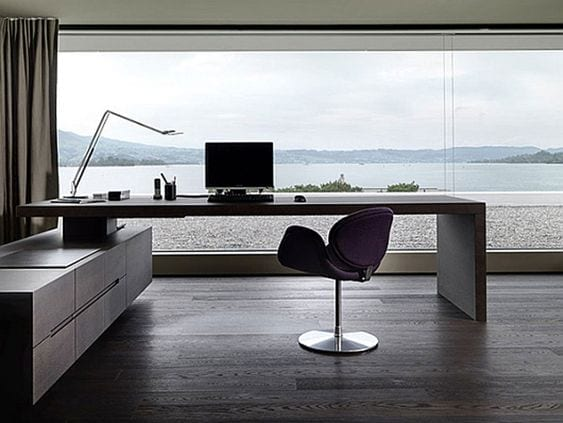 Long Black Computer Desk
