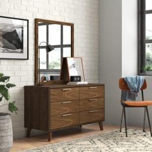 Merrinda 6 Drawer Double Dresser with Mirror