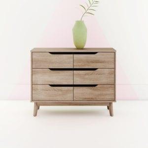 Retweet Calvin Modern 6 Drawer Double Dresser
