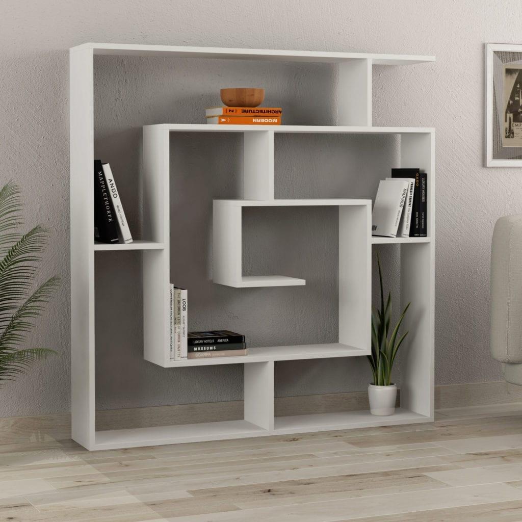 Spiral White Geometric Bookcase