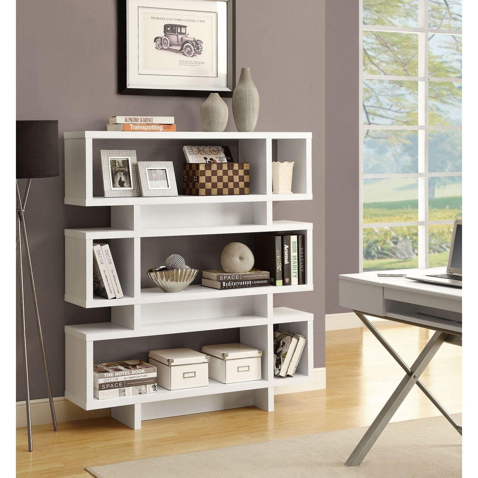 White 55 inch High Modern Bookcase