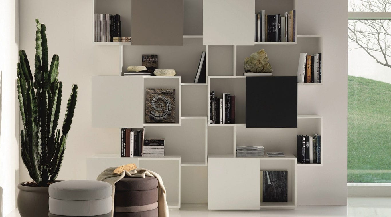 White Black Bookcase With Doors