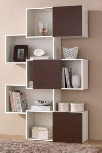 White Brown Bookcase With Doors