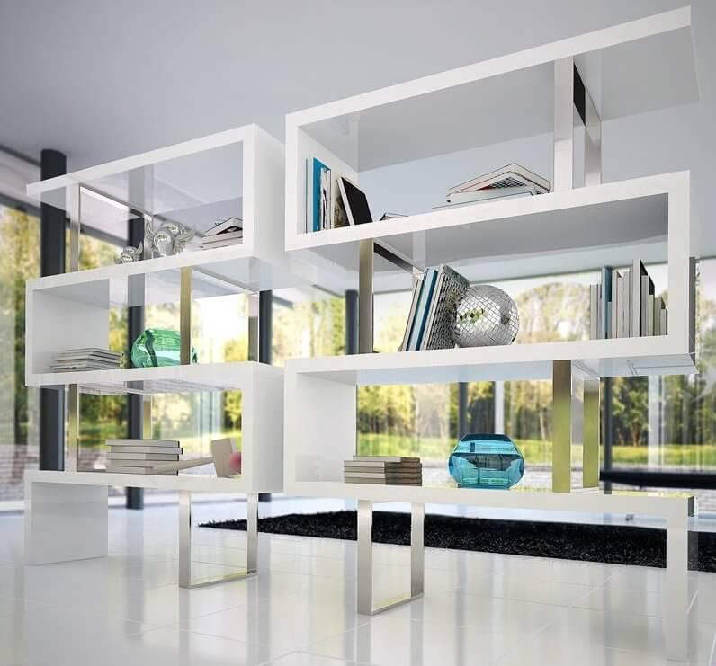 White Contemporary Bookcase