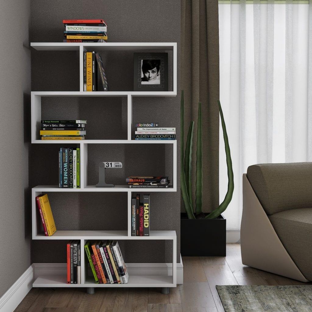 White Geometric Bookcase