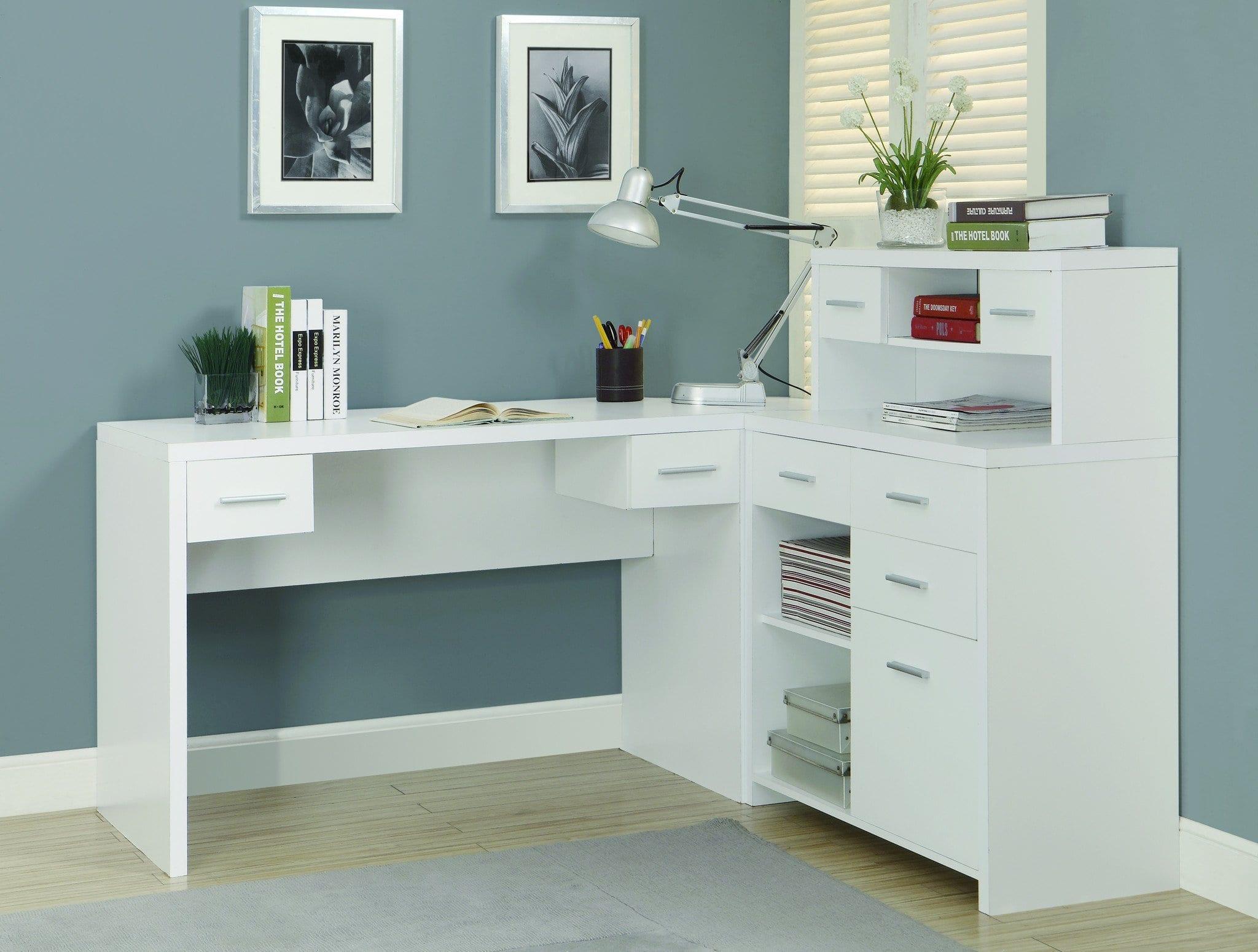 White L Shaped Computer Desk