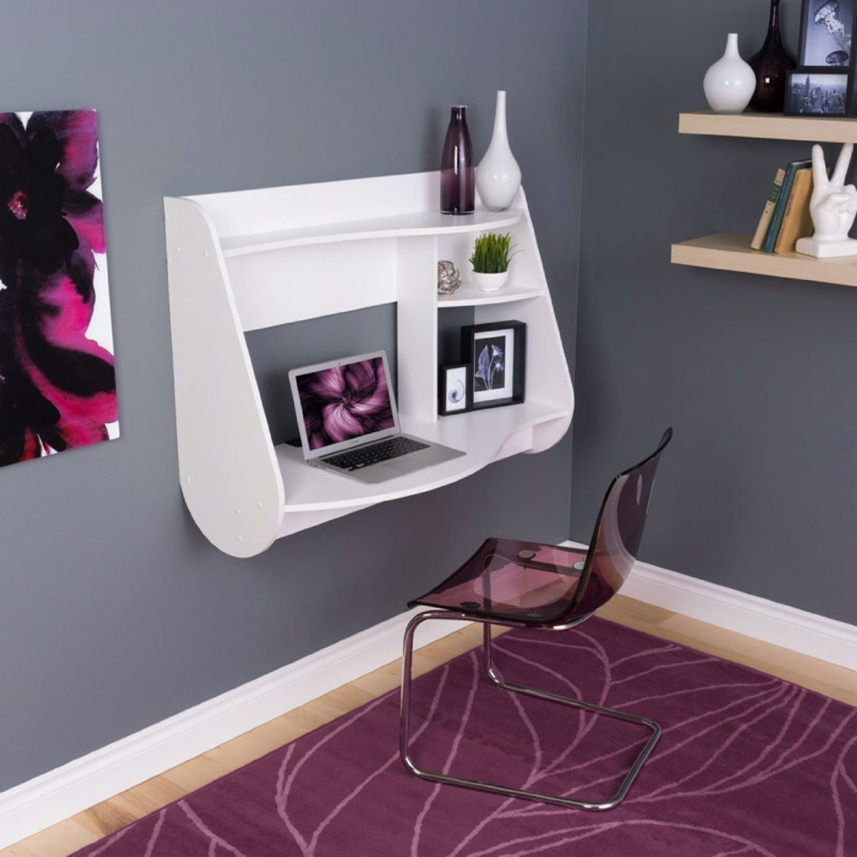 White Purple Wall Mounted Computer Desk