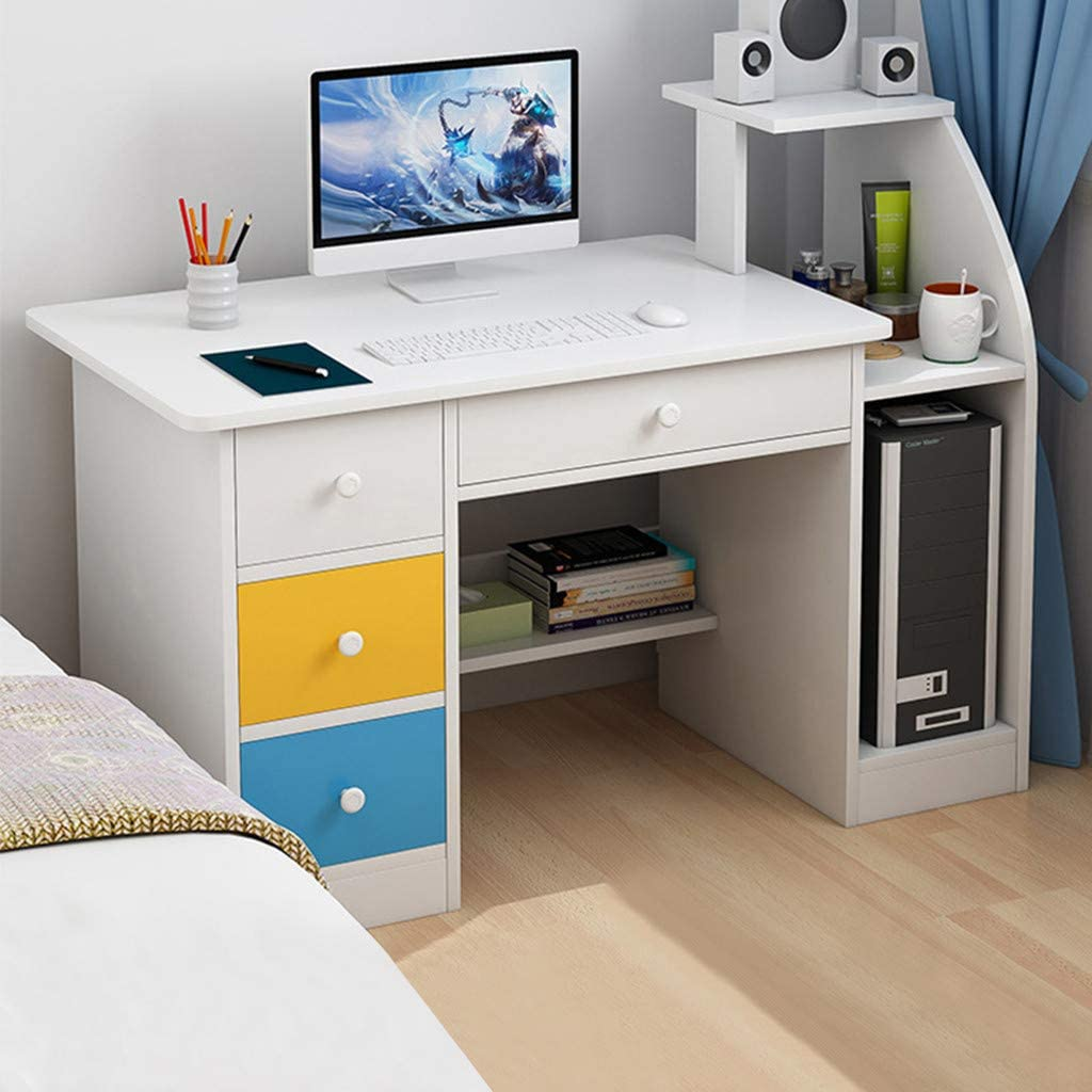 White Small Computer Desk With Colorful Cabinets