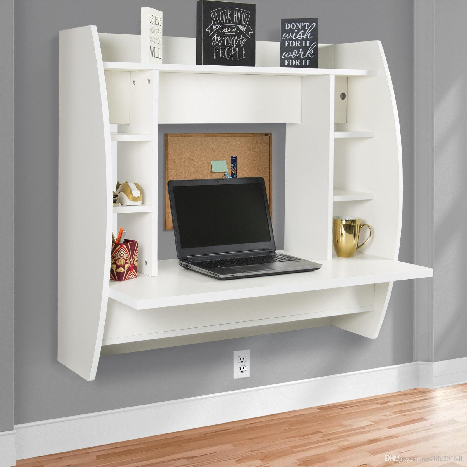White Wall Mounted Computer Desk