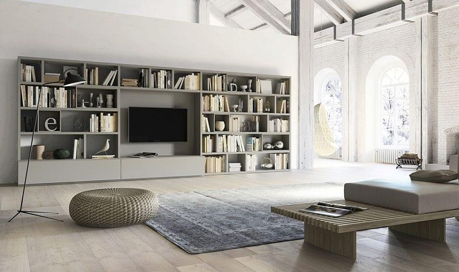 Wide Grey Bookcase