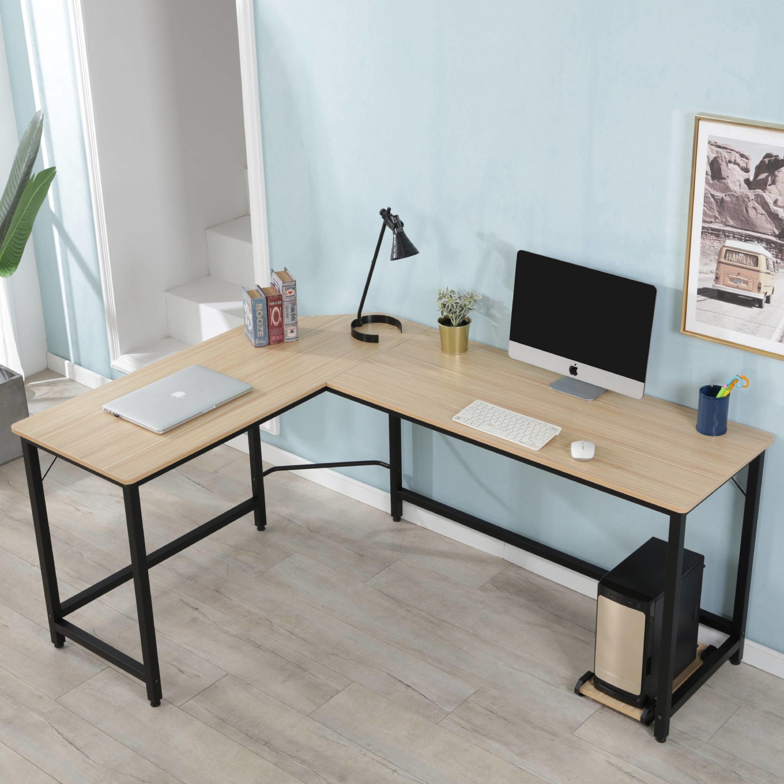 Wood Black L Shaped Computer Desk scaled