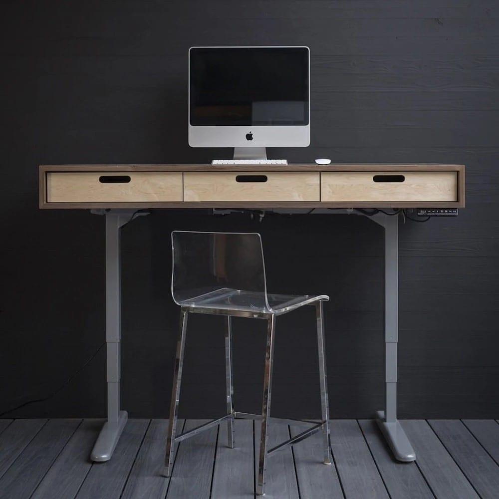 Wood Black Standing Computer Desk
