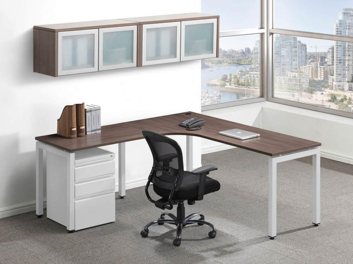 Wood White Shaped Computer Desk