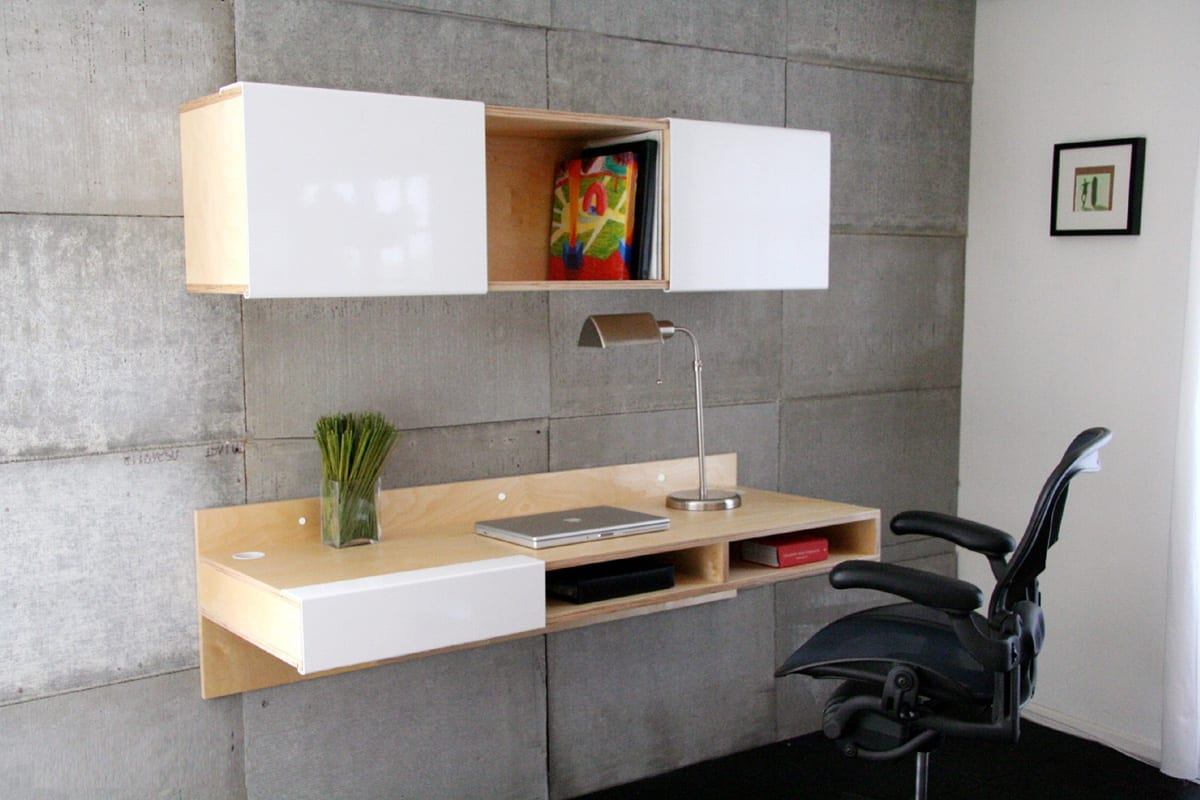 Wood White Wall Mounted Computer Desk