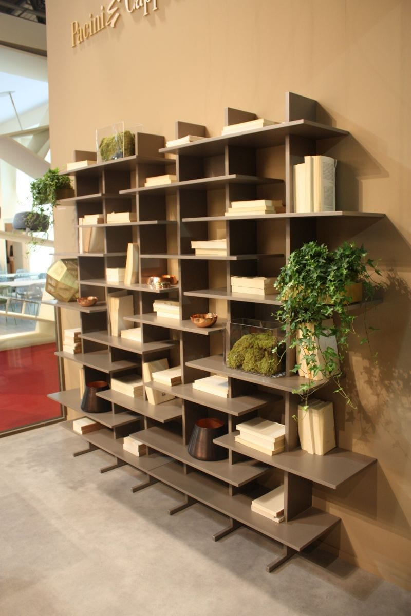 Wood shelves that create a cool bookcase