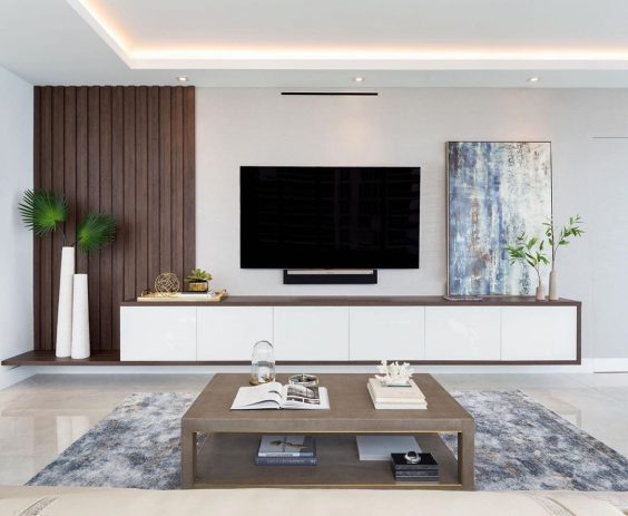 Custom modern tv stand via macainteriors
