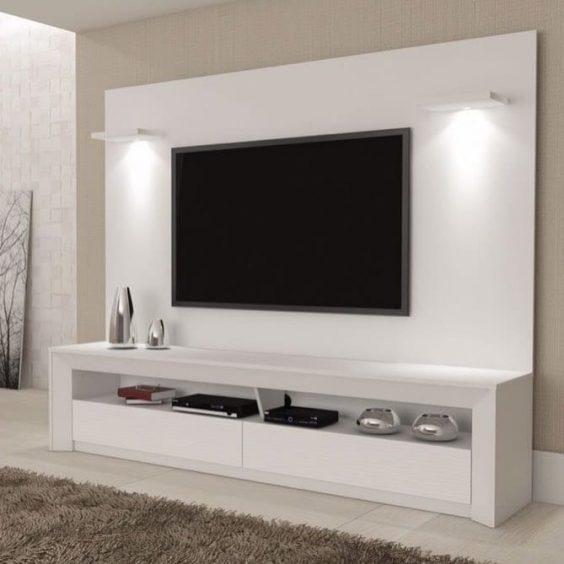 Large White TV Stand via allstarhomefurniture